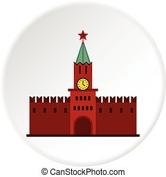 Kremlin icon circle - Kremlin icon in flat circle isolated...