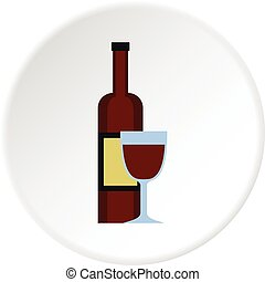 Glass of red wine and a bottle icon circle