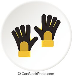 Soccer goalkeepers gloves icon circle