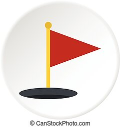 Red golf flag icon circle - Red golf flag icon in flat...