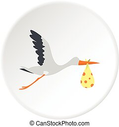 Flying stork with a bundle icon circle
