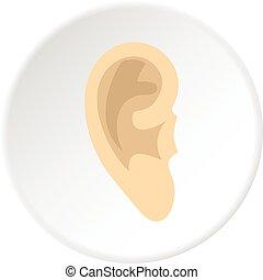 Human ear icon circle - Human ear icon in flat circle...