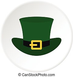 Green top hat with buckle icon circle - Green top hat with...