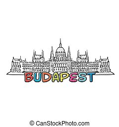 Budapest beautiful sketched icon, famaous hand-drawn...