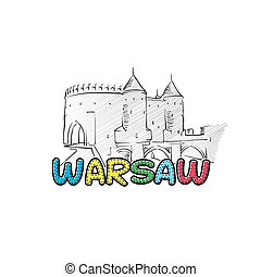 Warsaw beautiful sketched icon, famaous hand-drawn landmark,...
