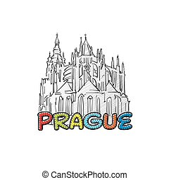 Prague beautiful sketched icon, famaous hand-drawn landmark,...