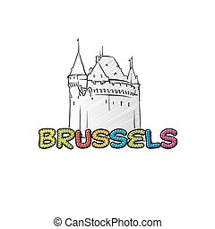 Brussels beautiful sketched icon, famaous hand-drawn...