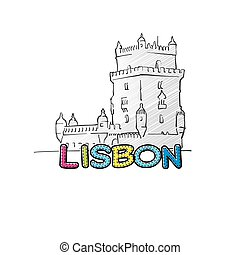 Lisbon beautiful sketched icon