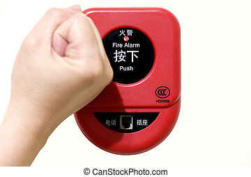 hit fire alarm button with isolated background
