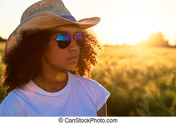 Mixed Race African American Woman Sunglasses Cowboy Hat...