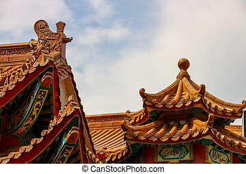 Chinese Temple Roof Detail - Chinese temple roof tiles and...