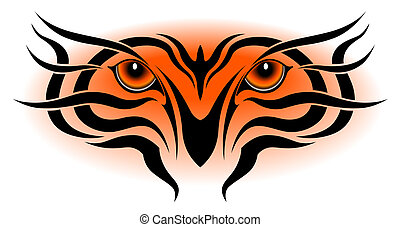 Tiger eyes, tribal tattoo - Tiger eyes in the form of a...