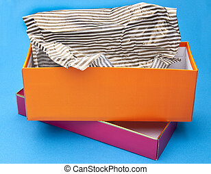 Orange and Pink Fancy Gift Box Opened with Striped Tissue...