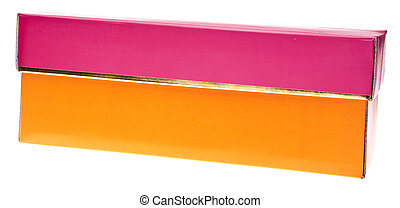 Orange and Pink Fancy Gift Box Isolated on White with a...