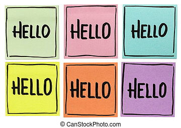 Hello greeting - set of  sticky notes