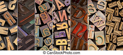 alphabet in vintage letterpress wood type