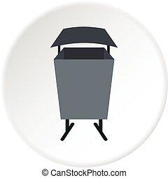 Metal rubbish bin icon circle - Metal rubbish bin icon in...