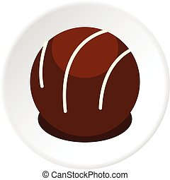 Chocolate candy icon circle - Chocolate candy icon in flat...