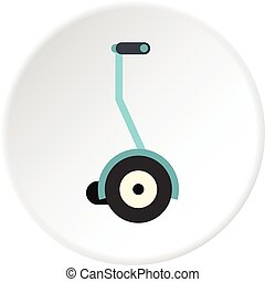 Segway icon circle - Segway icon in flat circle isolated...