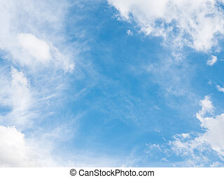 Clear blue sky with the fluffy cloud. - Clear blue sky with...