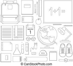 School items. Vector flat design concepts of education. Education school icons set