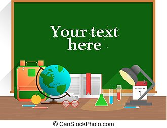 Banner with school items. Vector flat design concepts of education. Education school icons set.