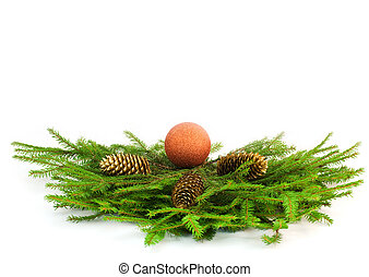 Christmas tree branches with golden cones