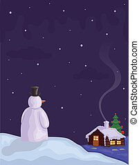 Christmas Eve with Snowman - Snowing on Christmas night -...