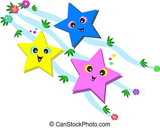 Happy Stars and Flowers