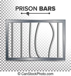 Realistic Prison Window Vector. Broken Prison Bars. Jail...