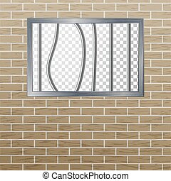 Prison Window With Bars And Brick Wall. Vector Pokey...