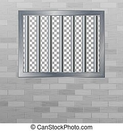 Window In Pokey With Bars. Brick Wall. Vector Jail Break...