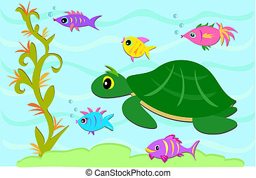 Turtle and Fish Friends