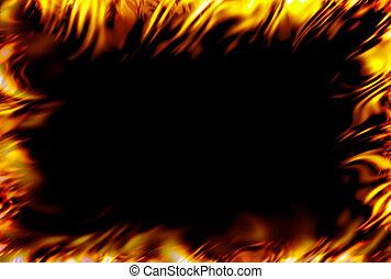 Fire frame - framed fire over black