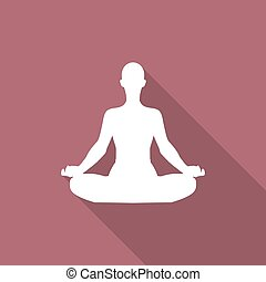 Meditation or meditate icon with shadow in a flat design