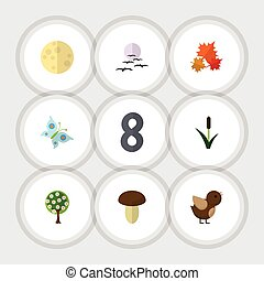 Flat Icon Bio Set Of Monarch, Cattail, Tree And Other Vector...