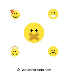 Flat Icon Expression Set Of Sad, Angel, Grin And Other Vector Objects. Also Includes Frown, Laugh, Idea Elements.