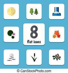 Flat Icon Bio Set Of Berry, Forest, Lotus And Other Vector...