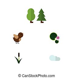 Flat Icon Bio Set Of Forest, Cattail, Overcast And Other...