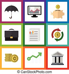 Flat Icon Gain Set Of Portfolio, Cash, Money Box And Other Vector Objects. Also Includes Architecture, Diagram, Coin Elements.