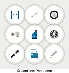 Flat Icon Auto Set Of Petrol, Turnscrew, Ratchet And Other...