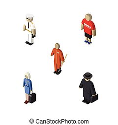 Isometric People Set Of Seaman, Cleaner, Detective And Other Vector Objects. Also Includes Hostess, Seaman, Lady Elements.