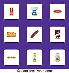 Flat Icon Eating Set Of Smoked Sausage, Yogurt, Kielbasa And Other Vector Objects. Also Includes Apple, Drink, Sausage Elements.