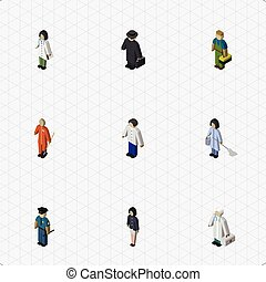 Isometric Person Set Of Plumber, Doctor, Cleaner And Other Vector Objects. Also Includes Housemaid, Girl, Guy Elements.