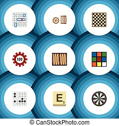 Flat Icon Games Set Of Mahjong, Gomoku, Sea Fight And Other...