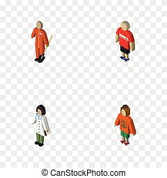 Isometric Person Set Of Lady, Guy, Doctor And Other Vector...