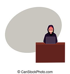 Hacker in black hoodie using laptop, computer, cybercrime, Internet fraud