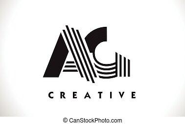 AG Logo Letter With Black Lines Design. Line Letter Vector...