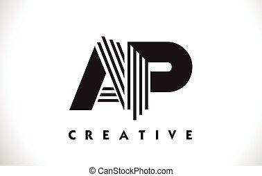 AP Logo Letter With Black Lines Design. Line Letter Vector...