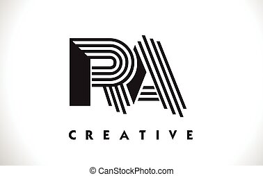 RA Logo Letter With Black Lines Design. Line Letter Vector...